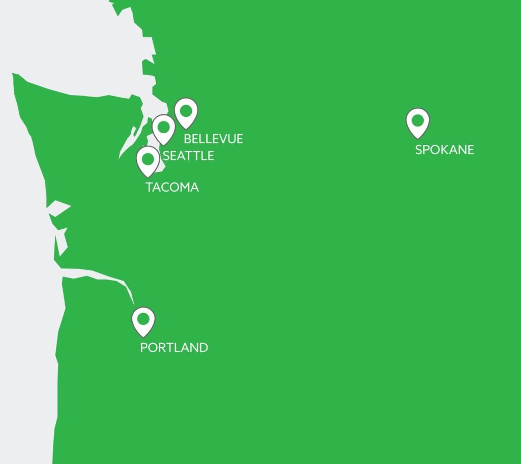 FPI Locations on a map - Portland Tacoma Seattle Bellevue and Spokane